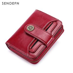 Sendefn Patente de hardware Flor Cartera Calidad Corta para mujer Billetera ButtonZipper Pequeñas carteras de cuero de las mujeres especiales 5185-68