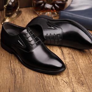 Erkekler için Yeni 2016 Sonbahar İş Elbise Ayakkabı Düğün Sivri Burun Moda Gerçek Deri Ayakkabı Flats Oxford Ayakkabılar
