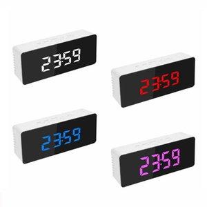 Dello specchio del LED Digital Alarm Clock Snooze orologio da tavolo sveglia elettronico della luce Grande Tempo Temperatura visualizzazione decorazione domestica Orologio DBC BH2657