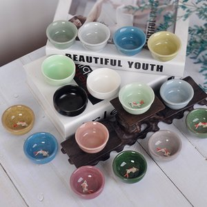 Tetera de cerámica creativa muchos colores Teacup Celadon koi carpa té tazón explosión resistencia al calor de fábrica Venta directa 1 2fya p1