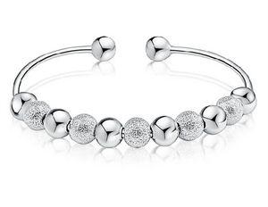 New Günstige Silber Armreif Edlen Schmuck Weißes Gold Überzug Hochzeit Schmuck 925 Sterling Silber Armband Bangles Silber Perlen Bangle Heißer Verkauf