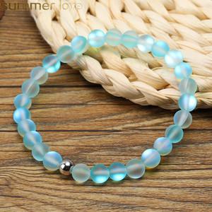 Natural Spectrolite Bling Pedra Bead Bracelet Yoga Azul Verde Rosa Pedra Natural Strand Pulseiras Bangle para mulheres Homens Handmade DIY Jóias