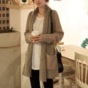 Coreano estilo chique Loose Women malha Longa Sweater Cardigan Lady manga comprida Patchwork Cardigan Brasão Outwear
