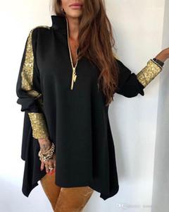 Zipper Ausschnitt-Jacken beiläufige Panelled Frauen lösen Oberbekleidung Womens Designer Pailletten Mantel Mode Damen