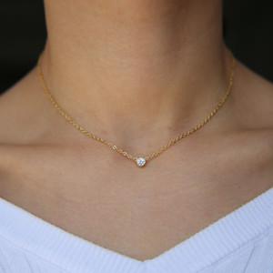 100% стерлингового серебра 925 шик классический простой ювелирные изделия цепи тонкий минимальный безель Cz прекрасный минималистский лакомство Ожерелье для девочки GMX190709