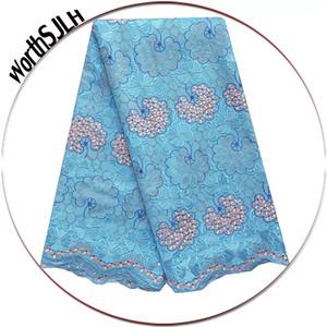 Luxo Pedrinhas suíço Voile Lace alta qualidade suíça algodão Voile Africano Tecido Lace Fabric Lace Dubai Azul 2019 Branco Sky