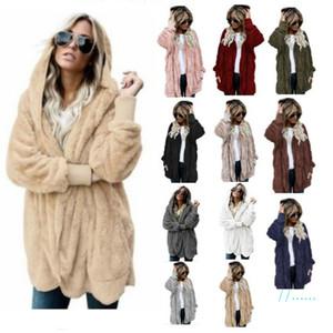 Women Sherpa Fur Long Coat Winter Fleece Jacket Warm Plush Hooded Outwear Open Stitch Pocket Overcoat Flurry Sweater Hoodie Plus Size C92705