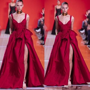 2020 Elie Saab rouge robes de soirée sexy spaghetti avant de Split Volants Pagenat Celebrity Robes Une ligne piste de mode robe de bal