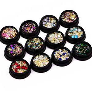 Tırnak Süsler 4cm Kara Kutu yanılsama Renk Sivri Dip Matkap + Düz Tabanlı Matkap + Peri boncuk + Taş Yüzük 12 seçenek RRA2890 mix