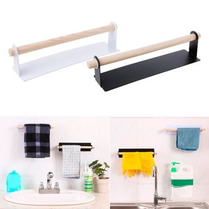 Wall-Mounted Suction Towel Rack Mug Cup Organizer Toothbrush Holder Kitchen Bathroom Sets Hand Towel Holder Paper Towel Hanger