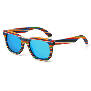 Retro Handmade Colored wooden frame sunglasses Polarized women men multicolor sun glasses Beach Anti-UV eyeglasses for Driving Y200619