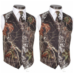 2019 Ucuz Custom Made Camo Damat Yelekler erkek Düğün Giyim Yelek Gerçek Ağaç Bahar Kamuflaj Groomsmen Slim Fit erkek Yelekler (Yelek + Kravat)