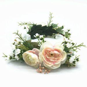 Bridal flower crown kids simulation flower princess garlands fresh style children lace gauze ribbon wreath women beach headbands A3424