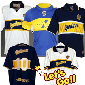 97 98 Бока Хуниорс ретро футбол Джерси Марадона Vintage Caniggia 1997 1996 1998 Классический маек Майо Camiseta де Futbol 2005