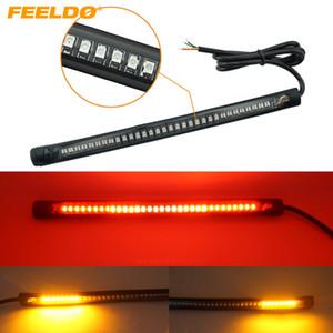 FEELDO Kırmızı ve Amber Motosiklet Otomobil 48LED LED Dönüş Sinyali Işık Kuyruk Fren Durdurma Plaka Lambası Arka Işık # 2376