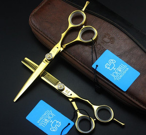 JOEWELL 5.5 дюймов /6.0 дюймов 6CR золотые волосы резки /истончение ножницы с твердостью 62HRC со стразами винт на ручке