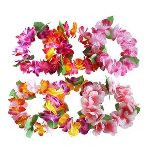 Artificial Hawaiian Flowers Leis Garland Necklace & Headband Bracelet Set for Summer Beach Party Decoration Birthday Wedding