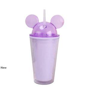 Mouse ear plastic bottle children Travel Cup with straws Juice Wine Glass Kids Baby Cartoon Cute Plastic double layer bottle KKA7916