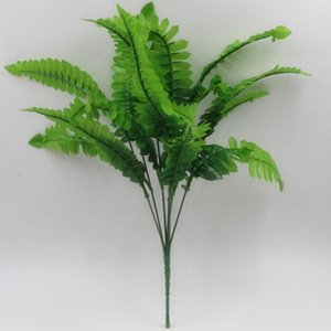 Piante fiore artificiale Fern Green Plant Simulation Erba Persico Fern erba artificiale Abbastanza 7 rami 14 fogli di plastica