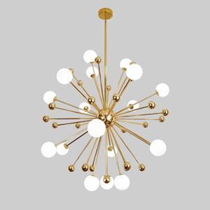 İskandinav LED yemek kolye lambaları postmodern kişilik karahindiba cam top asılı lamba Amerikan basit yatak odası kolye ışıkları 90-265 V
