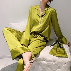 2020 Frühlings-Sommer Damen Pyjama Anzug mit langen Ärmeln Home-Service-Simulation Seidenstoffbeutel zu schlafen Nacht Wear Pyjamas