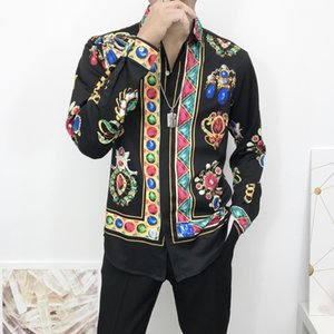 Spring   Summer 2020 designer new European and American long-sleeved shirt fashion trend printing colorful bead shirt wholesale
