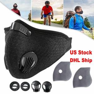 Trasporto veloce viso Sport maschera con filtro carbone attivo PM 2,5 Anti-Pollution respirazione Valvola Esecuzione maschere allenamento bicicletta di protezione