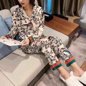 Autumn Lady Silk-like impressão Pijamas Womens luxo roupa sexy mangas compridas de cetim pijama flores e pássaros Pijamas 2 Piece