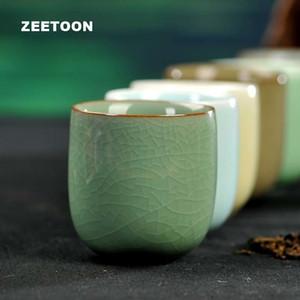 Stile giapponese Longquan Celadon Teacup Kung Fu Tea Set Boutique Master Cup porcellana fatti a mano del tè Ciotola in ceramica creativa Sake Cup T191024
