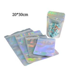 20 * 30 cm 100 pz cibo secco pacchetto colorato olografica borse di grandi dimensioni Ologramma e chiaro sulla parte anteriore Self Seal Zip Lock Zipper Pacchetto sacchetti