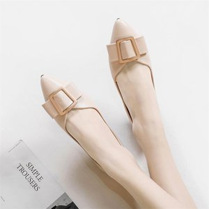 Zapatos Mujer Mulheres sapatos único Plano Loafers fivela metálica Senhora mocassim Shallow Escritório Pointed Toe Primavera Calçado Plus Size 43