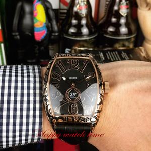 높은 버전의 케이스 자동 기계 운동 남성 시계 블랙 가죽 스트랩 시계 조각 8880 CH 블랙 날짜 다이얼 로즈 골드 피렌체 예술