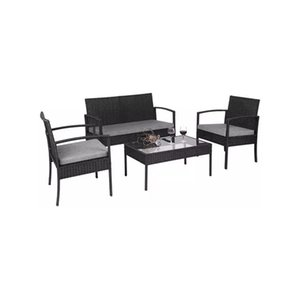4 PCS Sofa Set with Table Sofa Cushioned Black Outdoor Patio Rattan Wicker Furniture Set Rattans Garden Chair Patio Set