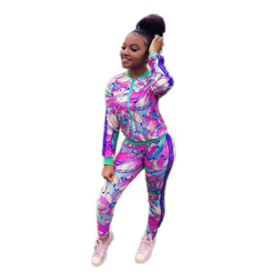 Women Tracksuits Sets Autumn 2019 Fashion Floral Print Ladies Leisure Sporting Two Piece Sets Sportsuit Outfits