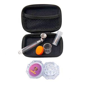Tabac à pipe Moulin de stockage Bouteille en verre Réservoir Portable Pipe Pocket Camera Bag Set fumer Kit 5 In One Accessoires fumeurs