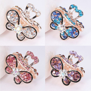 Mujeres Vintage Crystal Hair Pins Moda Rhinestone Mini Butterfly Bow Peacock Hair Claw Clips Wedding Hair Jewelry Accessories