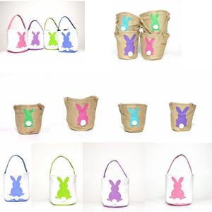 Easter Basket coniglio stampato Easter Bunny cesti regalo Borse Bunny Tail Borse Totalizzatore tela di lino bucket di archiviazione del fumetto Borse GGA3192