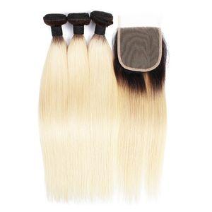 KISSHAIR T1B613 cabelo liso tecer 3 pacotes com fecho de cor do cabelo loiro extensão virgem do cabelo Europeia brasileira