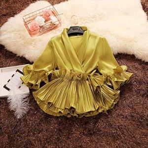 Amolapha Femmes d'été Soild Deep V-cou manches lacées Volants Papillon satin Blouses Chemises MX200407