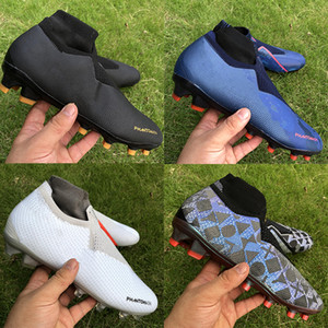 2020 New Hot Mens Paris Phantom VSN Elite DF FG Chaussures de football or noir pleine charge hommes blanc rouge crampons de football de haute qualité