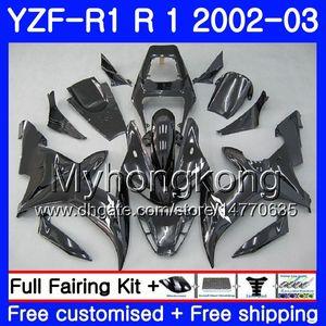 YAMAHA YZF-1000 YZF R 1 YZF R1 2002 için Kaportalar Bodywork 237HM.39 YZF 1000 YZF-R1 02 YZF1000 Çerçeve YZFR1 02 03 Fairing siyah fabrika sıcak
