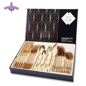 24 adet Altın Çatal Yemek Seti Çatal Seti Yemekleri Bıçaklar Çatal Kaşık Kaşık Batı Mutfak Yemek Paslanmaz Çelik Sofra Ev SH190715