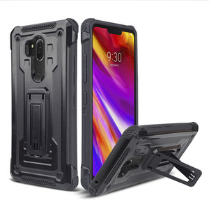 LG V40 ThinQ G710 ThinQ Q7 artı Hibrid Zırh Vantage Çift Kickstand Telefon kılıfı 100 adet en az Oppbag
