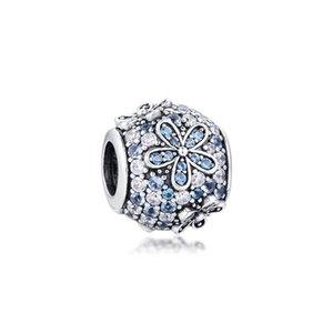 Green Pave Daisy Flower Charm Sterling-Silver-jewelry Beads Fits Pandora Bracelets DIY Woman Bracelets Beads Wholesale Beads