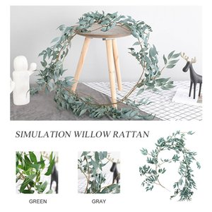 Creativo di simulazione salice Foglie Corona Grigio / Verde Verde Garland Faux artificiale Willow Vite di moda