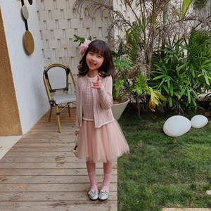 2020 free shipping 2Pcs Autumn Toddler Kid Baby Girl Coat Outwear Sweater Cardigan Top+Dress Outfit Clothing Set2-12Years