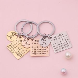 Calendario personalizado Llavero Acero inoxidable Calendario personalizado Fecha de aniversario destacada con la letra Love Love You
