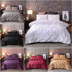 Luxury Bedding Set Pinch Pleat Comforter Bed Sets Home Textile Bed Linen High Quality Bedspreads black White King Duvet Cover