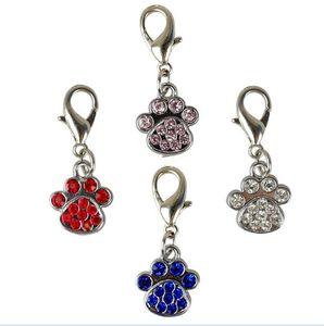 Fashion Paw Tacks Pet Pendant Collar Rhinstone Pendant Cute Charms with Hooks Dog Decoration Insuments ZA5428