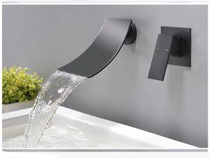 HPB براس حمام الشلال حوض الحنفية وحيد مقبض صنبور بالوعة الحمام مع مخفى صندوق طلى الأسود HP62011